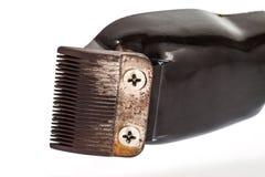在白色隔绝的老头发剪刀 免版税库存照片