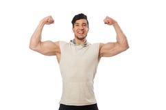 在白色隔绝的肌肉人 免版税库存图片