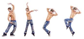 在白色隔绝的舞蹈家跳舞舞蹈 库存图片