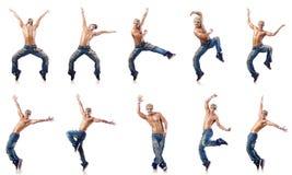 在白色隔绝的舞蹈家跳舞舞蹈 库存照片