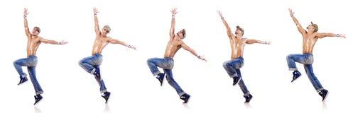 在白色隔绝的舞蹈家跳舞舞蹈 免版税库存照片