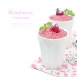 在白色隔绝的莓奶油甜点 库存图片