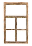在白色隔绝的葡萄酒简单的木窗架 库存照片