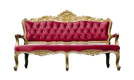 在白色隔绝的葡萄酒豪华红色沙发扶手椅子 图库摄影