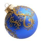 在白色隔绝的蓝色圣诞节装饰球 库存图片