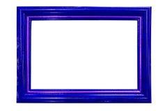 在白色隔绝的蓝色木框架 免版税库存图片
