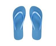 在白色隔绝的蓝色海滩鞋子 免版税库存图片