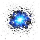 在白色隔绝的蓝色火焰状飞星爆炸 库存图片