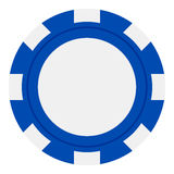在白色隔绝的蓝色纸牌筹码平的象 库存例证