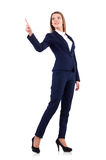 在白色隔绝的蓝色衣服的女实业家 免版税库存图片