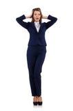 在白色隔绝的蓝色衣服的女实业家 图库摄影