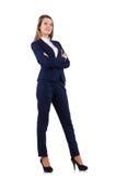 在白色隔绝的蓝色衣服的女实业家 库存图片