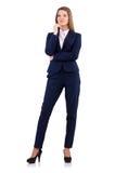 在白色隔绝的蓝色衣服的女实业家 库存照片