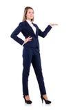 在白色隔绝的蓝色衣服的女实业家 免版税库存照片