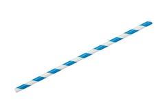 在白色隔绝的蓝色镶边eco纸秸杆 免版税库存照片
