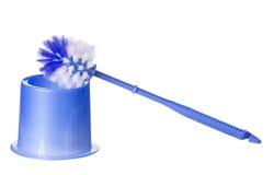 在白色隔绝的蓝色洗手间刷子。清洗 免版税库存图片