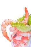 在白色隔绝的虾仁开胃品 免版税库存图片