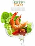 在白色隔绝的虾仁开胃品 免版税图库摄影