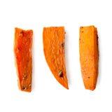 在白色隔绝的被烘烤的红萝卜 免版税库存照片
