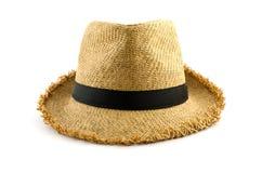 在白色隔绝的被编织的帽子 免版税库存照片