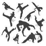 在白色隔绝的被隔绝的黑白剪影capoeira舞蹈家 设计的例证集合 免版税库存图片