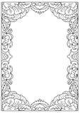 在白色隔绝的装饰正方形a4格式着色页框 免版税库存照片