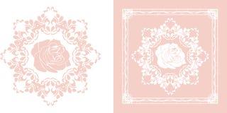 在白色隔绝的装饰的装饰元素和桃红色 免版税库存图片