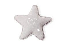在白色隔绝的装饰被充塞的星拥抱玩具 库存照片