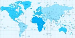 在白色隔绝的详细的世界地图蓝色颜色 库存照片