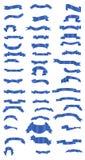蓝色丝带和横幅 免版税库存照片