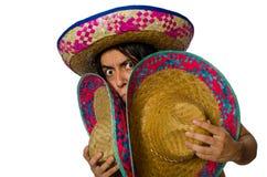 在白色隔绝的赤裸墨西哥人 免版税库存照片