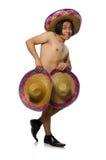 在白色隔绝的赤裸墨西哥人 免版税图库摄影
