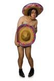 在白色隔绝的赤裸墨西哥人 图库摄影