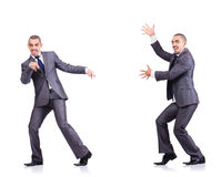 在白色隔绝的跳舞商人 库存图片