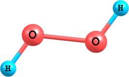 在白色隔绝的过氧化氢(H2O2)分子结构 免版税图库摄影