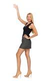 在白色隔绝的金发式样佩带的灰色裙子 免版税库存照片
