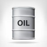 在白色隔绝的金属油桶 免版税库存照片
