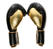 在白色隔绝的金黄和黑皮革皮革拳击手套 免版税库存图片