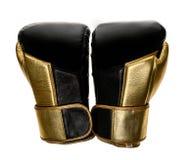 在白色隔绝的金黄和黑皮革皮革拳击手套 库存照片