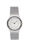 在白色隔绝的银色手表 免版税库存图片