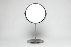 在白色隔绝的银色构成镜子 免版税库存照片