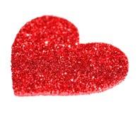 在白色隔绝的闪烁红色心脏。情人节 免版税图库摄影