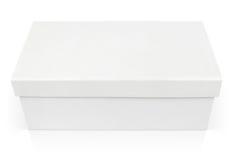 在白色隔绝的闭合的鞋盒 免版税库存图片