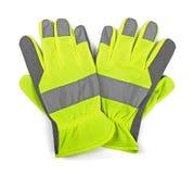 在白色隔绝的防护工作手套 库存图片