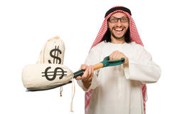 在白色隔绝的阿拉伯商人 免版税库存照片