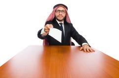 在白色隔绝的阿拉伯商人 库存图片