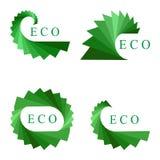 在白色隔绝的集合绿色商标元素 公司略写法的生态模板 免版税库存图片