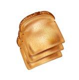 在白色隔绝的面包片 库存图片