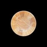 在白色隔绝的顶视图明亮的空的木碗 保存与 库存图片
