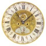 在白色隔绝的17世纪时钟表盘 免版税库存照片